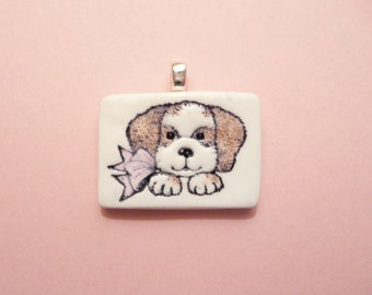 Cute Dog Pendant, Optional Necklace, Dog Jewelry, Pet Lover Gift, brown and white puppy, handmade polymer clay