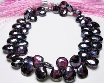 Diamond Coated Dark Red Garnet Faceted Pear Shape Briolettes 9 x 7mm to 11 x 7mm - 1/2 Strand
