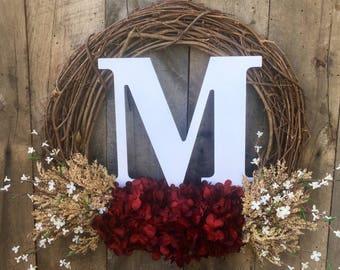 Holiday Wreath, Monogram Wreath, Front Door Wreath, Holiday Door Wreath, Christmas Wreath, Winter Wreath, Letter Wreath, Door Wreath, Wreath