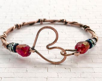 Copper wire wrapped  heart bracelet perfect for valentines day!