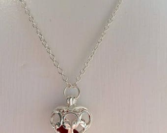 Rare red sea glass heart locket pendant