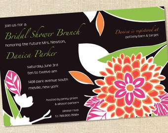 Sweet Wishes Modern Pink Orange Zinnia Invitations - PRINTED - Digital File Also Available