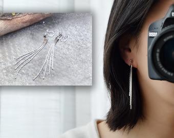 Clip on earrings, pendant earrings, Long chain tassel earrings Non-Pierced Ears