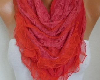 Red Lace Wedding Scarf,Shawl,Bridal Scarf, Bridesmaid Gifts, Gift  For Her, Women Fashion Accessories Women Scarves