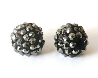 1 x bead ball rhinestones Crystal 8mm HEMATITE