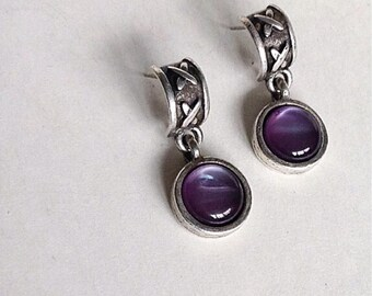 Silver Stone  Earrings, Stone Earrings, Silver Amethyst Vintage Earrings,  Amethyst Earrings, Faceted Amethyst Glass  Earrings