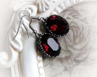 Burgundy Swarovski crystal earrings gothic baroque earrings burgundy wine earrings renaissance victorian jewelry