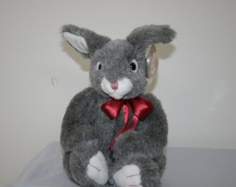 "Ty Classic ""Smokey"" The 16' Plush Bunny wearing a Burgundy Bow./New With Tags/Retired in 1995/ Part of The Ty Classic Plush Collection."