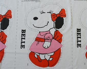 LAST ONE Novelty Peanuts Character pillow fabric vintage Peanuts BELLE Snoopy Sister Charlie Brown pillow panel fabric girls room