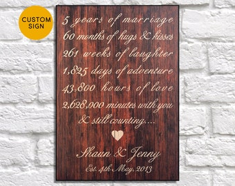Personalised 5th Anniversary gift for Men gift Wood sign 5 year Anniversary gift for Parent Gift for Women gift for Her Panel effect sign