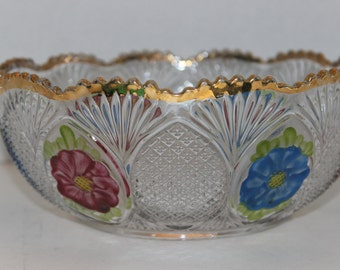 "EAPG Bowl with Gold Scalloped Edge, Blue and Pink Flowers, ""Sunk Daisy"" Pattern Co-op Flint Glass 1889"