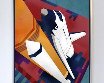 18 x 24 - Space Shuttle Launch Pad Art Print, Fine Art Print, Science Wall Art, NASA art, Illustration, science poster