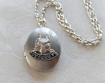 Boy Scout Necklace, Repurposed Jewelry, Locket Necklace, Sentimental Jewelry, Gift for Her