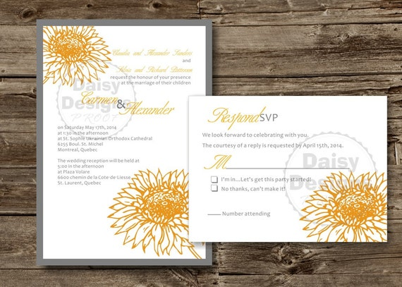 DIY Sunflower Wedding Invitation Template Yellow Grey - Sunflower wedding invitations templates