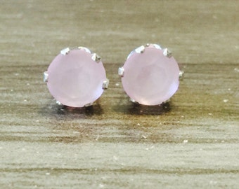 Powdered Rose Swarovski Crystal Sterling Silver Earrings