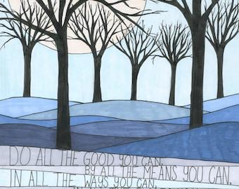 Goodness Art Print, Wall Art, Nature, Inspiration, John Wesley Quote