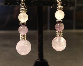 Amethyst & Rose Quartz Dangle Earrings // Silver-Plated and Hematite Spacers // Nickel-Free Hooks // Elegant and Dazzling