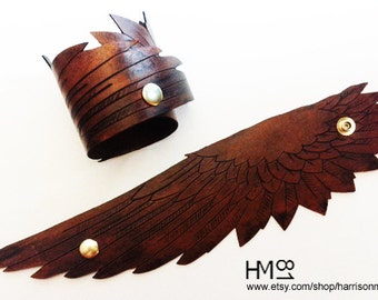 Brown Leather Wing Cuff