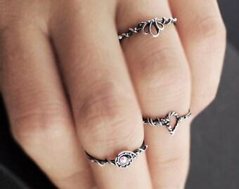 Silver knuckle rings, sterling silver midi rings, Swarovski stacking rings, OOAK midi rings, silver mdi rings, midi rings, midi rings set