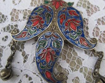 Vintage Oriental Cloisonne Enamel Dangle Pendant