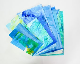 Hand Painted Collage Paper Scrap Paper Pack - A4 assorted weight papers for scrapbooking/card making/collage/journaling - blue