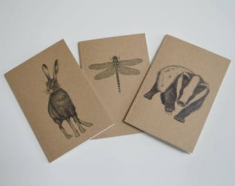 Set of 3 recycled notebooks. Pick any 3 A6 notebooks. Matching notebook set. Notebook gift sets