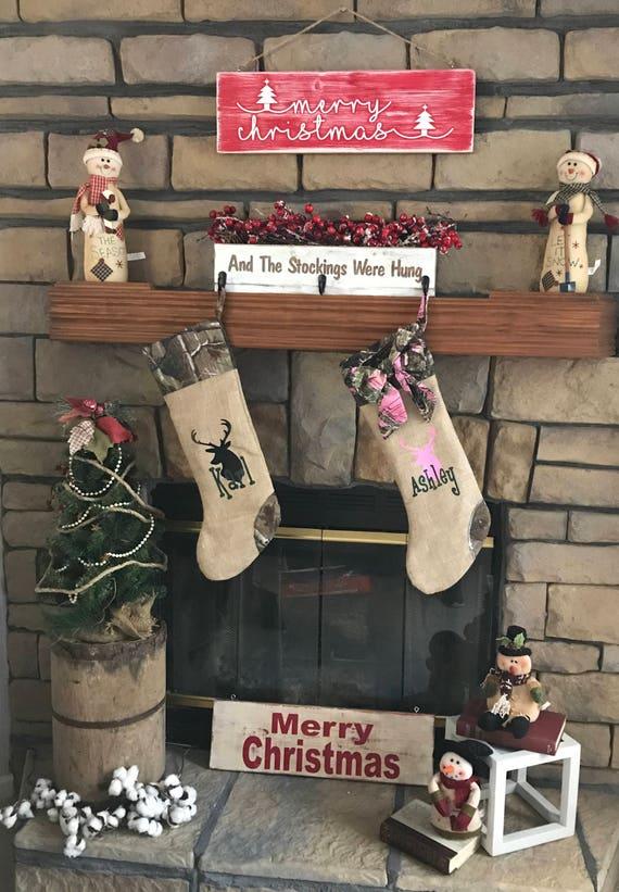 Deer Christmas stocking, Burlap Christmas Stocking, Deer stocking, Burlap Stocking, Personalized stocking, Christmas Stocking