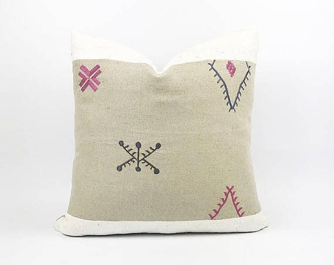 READY TO SHIP Embroidered Flax Linen Moroccan Textile And African Mudcloth Pillow Cover 22x22