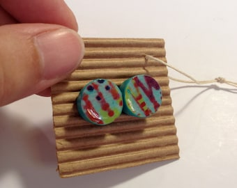 Cute Stud Earrings - Turquoise and Red - Wooden Earrings - Faux Plugs - Colorful Patterns