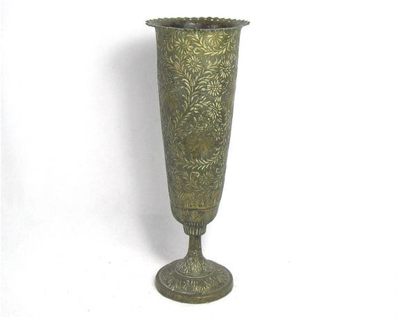 "9"" Tall Vintage Engraved Indian Brass Vase"