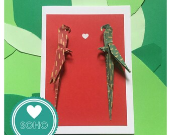 Origami Blank Greetings Card - Love Parrots