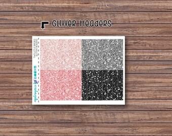 Two Little Birdies Glitter Header Stickers | ECLP | Happy Planner | Recollections Planner