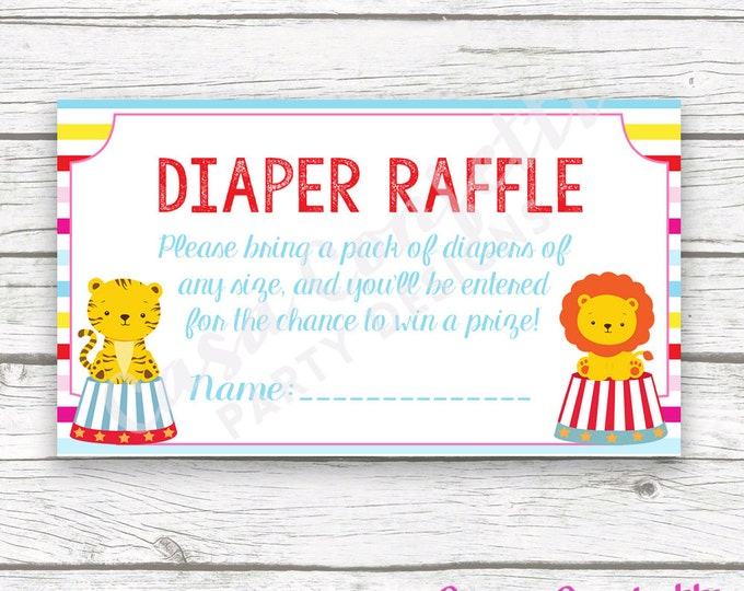 Circus Carnival Diaper Raffle Ticket, Circus Printable Invitation Insert, Carnival Baby Shower Diaper Raffle, Baby Boy Shower