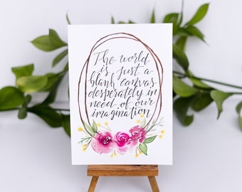 The World Is Just a Blank Canvas, Desperately In Need of Our Imagination Floral Wreath Watercolor Illustration Print