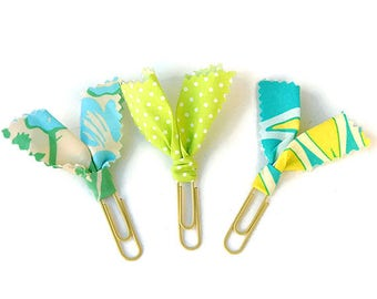 3 Planner clips, fabric planner clips, bible planner clips, planner supply, planner accessories, bookmark, page marker, blue planner clips