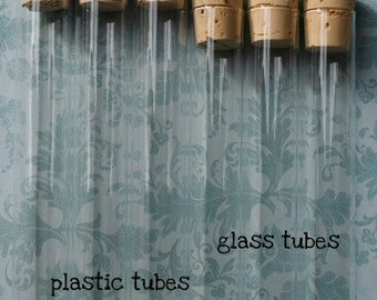 Dozen Clear Glass Storage Tubes and Corks - Box of 12