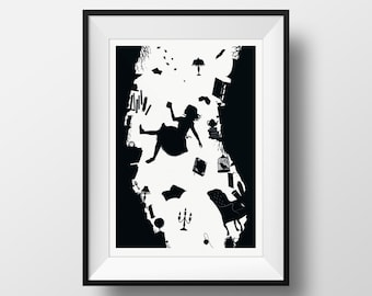 Alice in Wonderland- Tumble Down the Rabbit Hole Silhouette Black and White Literature Wall Art, Lewis Carroll Giclée Illustration  Print
