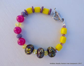OOAK LAMPWORK BRACELET,  a one of a kind lampwork glass bracelet with artisan beads and gemstone beads.