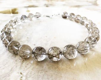 16mm Top Grade Silver Rutilated Tourmalinated Quartz Beaded Necklace with Sterling Silver Clasp - Very Rare One of a Kind
