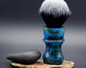 Shaving Brush - Hand-Made with hand-poured Green and Blue Resin Handle and a Choice of Knots