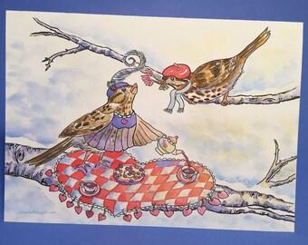 Sparrow's Valentine Tea Greeting Card, by Michelle Kogan, Watercolor, Valentine's Card, Children's Art, Birds, Tea Party