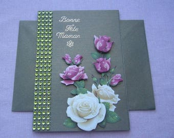 """""""Card"""" mother's day """"green hand made 3D metallic stickers - envelope and rhinestones"""