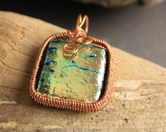 Fused glass and copper pendant