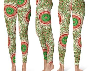 Christmas Leggings Women, Holiday Leggings, Red and Green Mandala Yoga Pants, Printed Tights
