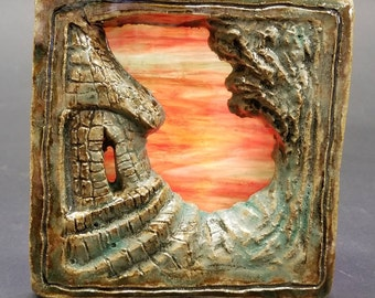 Sunset Cottage. Relief sculpture tile with stained glass, indoor windowsill, outdoor decor lighting