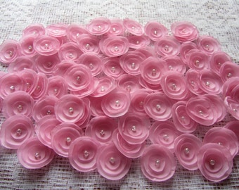 "Fabric flowers 1.5"" flowers, wedding flowers, bridal, bride, bridesmaid, wedding table decorations, pink flowers"