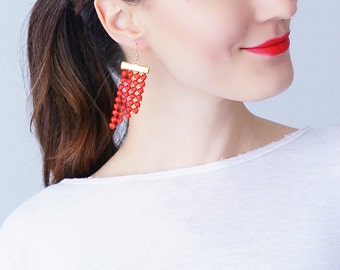 Mom Gift Mother Gift Red Earrings Statement Earrings Lace Earrings Dangle Earrings Geometric Earrings Fashion Earrings Gift For Her/ PAOLI