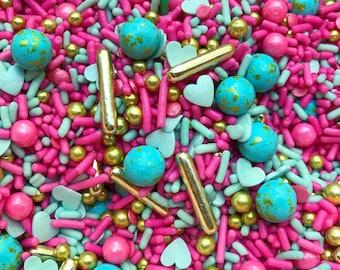 Edible Sprinkles - Turquoise Love Sprinkle Mix