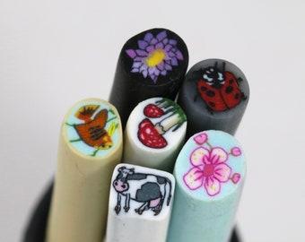 Nail art polymer clay canes - 6 sticks (Set 4)