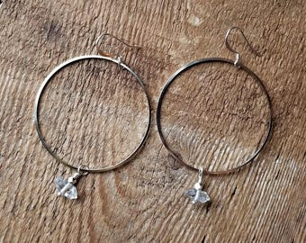 Silver plated circle hoops with herkimer diamonds